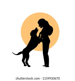 woman and a dog hug cuddle cute silhouette vector graphic