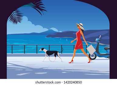 Woman with Dog walking by the seaside. Fashion Illustration. French Riviera