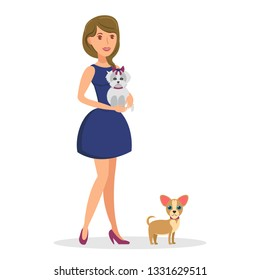 Woman with Dogs Flat Vector Color Illustration. Smiling Girl in Elegant Blue Dress with Yorkie and Chihuahua. Dog lover and Pets Cartoon Character. Human and Animal Friendship. Isolated Design Element