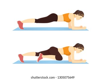 Woman doing Abdominal exercise position introduction with Plank Knee to Elbow in 2 step for guide. Illustration about workout.