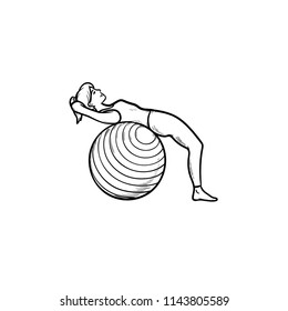 Woman doing abs exercises on fitball hand drawn outline doodle icon. Healthy lifestyle, pilates, gym concept. Vector sketch illustration for print, web, mobile and infographics on white background.