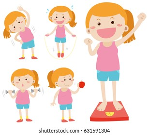 Woman doing activities for weightlose illustration