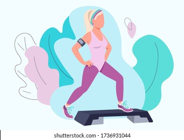 Woman doing aerobic exercise flat color vector faceless character. Step up class trainer. Sportswoman working out isolated cartoon illustration for web graphic design and animation. Fitness exercise