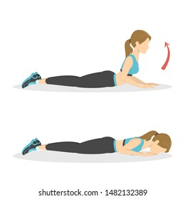 Woman doing back extension exercise. Back stretch in the gym. Fitness and healthy lifestyle. No equipment workout for flexible body. Cool down cobra exercise. Isolated vector cartoon illustration