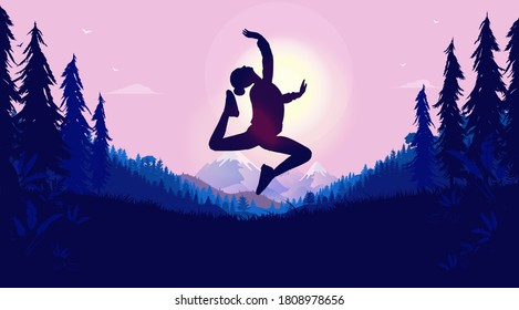 Woman doing ballerina jump in nature - Happy young female enjoying nature and freedom, dancing joyful in forest at sunrise. Freedom, true happiness and a great life concept. Vector illustration.