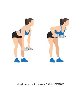 Woman doing bent over two armed water bottle rows exercise flat vector illustration isolated on white background