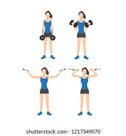 Woman doing bicep exercise. Dumbbell curls and overhead cable curls isolated on white background