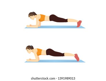 Woman doing body saw exercise guide in 2 step. Illustration about side abdominal workout.