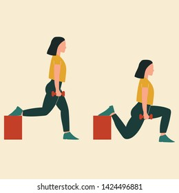 Woman doing bulgarian split squats. Illustrations of glute exercises and workouts. Flat vector illustration.