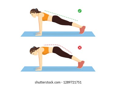 Woman doing correct plank exercise position and wrong for compare on blue mat. Illustration about workout guide.
