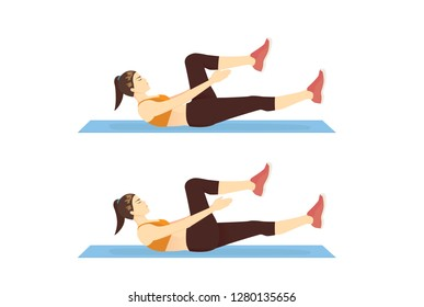 Woman doing Crunch Clap Exercise in 2 step for guide. Illustration about introduction workout posture.