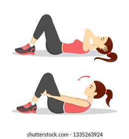 Woman doing crunches in the gym. Belly burn workout. Girl make exercise. ABS workout. Healthy and active lifestyle. Isolated vector illustration