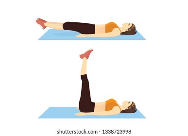 Woman doing Double Leg Raise Exercise in 2 step. Illustration about introduction workout.