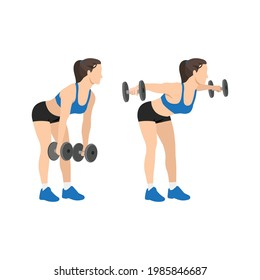 Woman doing Dumbbell bent over lateral rear delt raises. Flyes exercise. Flat vector illustration isolated on white background