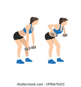 Woman doing Dumbbell row exercise. Flat vector illustration isolated on white background