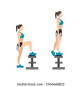 Woman doing dumbbell step ups exercise flat vector illustration isolated on white background