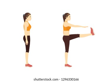 Woman doing Exercise guide by Walking High Kicks in 2 step. Illustration about workout posture.