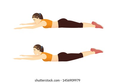 Woman doing exercise with Super hero flying position on the floor in 2 step for guide. Illustration about Workout diagram.