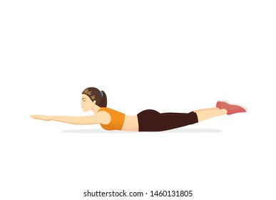 Woman doing exercise with Super hero flying position on the floor. Illustration about back extension exercise