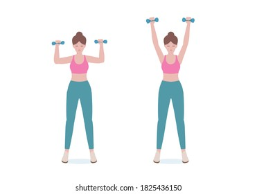 Woman doing exercises a dumbbell. woman in pink shirt and a blue Long legs. Step by step instruction for doing Upper shoulder lift pose. Illustration in cartoon style. Fitness and health concept.