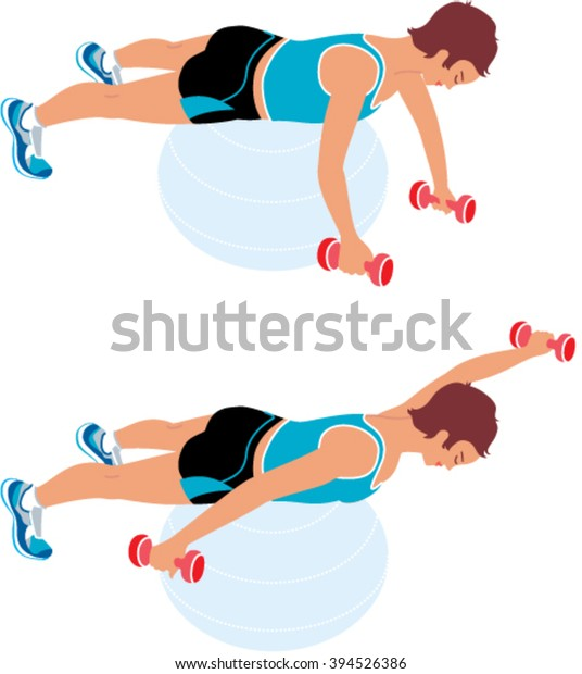 Woman Doing Exercises Dumbbells On Fit Stock Vector Royalty Free