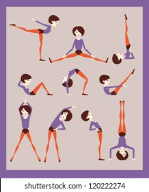 woman doing exercises or fitness workout vector eps 10