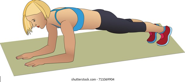 Woman doing exercises. Forearm plank