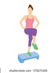 Woman doing exercises on a stepper. Stretching exercises.