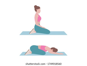 Woman doing exercises.  Step by step instruction for doing Child's Pose is a gentle stretch for the back, hips, thighs, and ankles. It can help relieve back pain.  Isolated vector illustration in cart