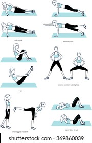 Woman doing fitness gym workout. Plank, V sit, sit ups exercises set. Line drawing illustrations.