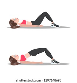 Woman doing glute bridge. Buttock workout. Healthy and active lifestyle. Isolated vector illustration