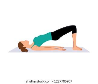 Woman doing half bridge exercise. Vector illustration.