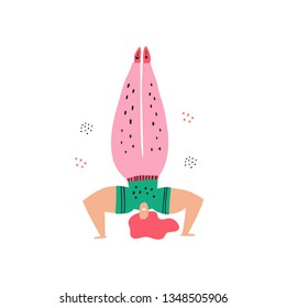 Woman doing headstand flat hand drawn illustration. Lady in upside down pose cartoon character. Fitness exercise, meditation color drawing. Gym, pilates, yoga classes isolated design element