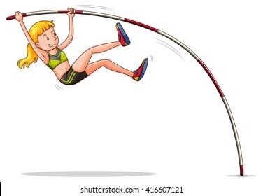 Woman doing high jump illustration
