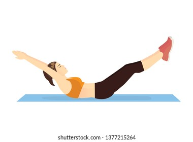 Woman doing Hollow Body Hold on blue mat. Illustration about Abdominal muscle workout posture.