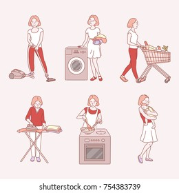 A woman doing housework hand drawn illustrations. vector doodle design