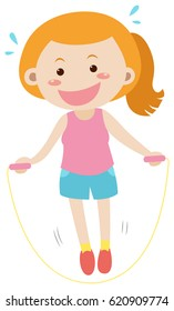 Woman doing jumprope alone illustration