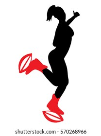 Woman doing Kangoo jumps. Aerobic exercises.