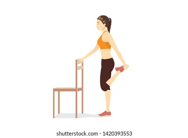Woman doing Kneeling Quad Stretch with a chair. Illustration about simple Stretching leg muscle.
