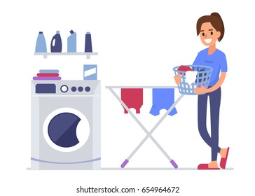 Woman doing laundry at home. Flat style vector illustration isolated on white background.
