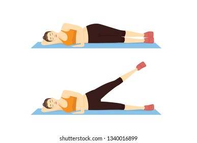 Woman doing Leg Raise Exercise in 2 step on blue mat. Illustration about introduction workout.