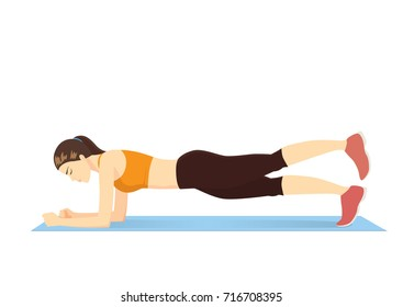Woman doing a plank workout with a straight leg raise on blue mat isolated on withe. Illustration about exercise cartoon.