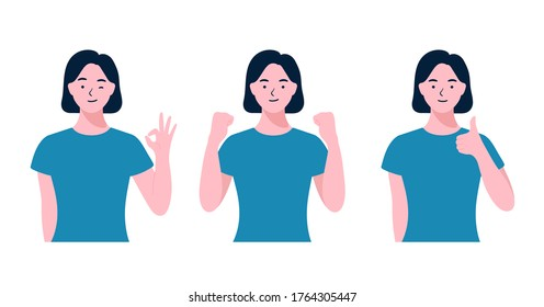Woman doing positive gestures set. Happy woman raise hand gesture for meaning successful or winning. Ok, Like, Fighting, Success, Thumbs up sign, flat design style minimal vector illustrations.