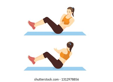 Woman doing Russian twist exercise in 2 step guide on mat. Illustration about workout position which targets the abdominals.