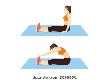 Woman doing Seated Toe Touch Stretch Exercise on blue mat in 2 step. Illustration about warm up and cool down and workout.