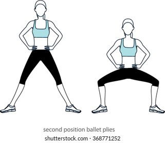 Woman doing second position ballet plies. Two positions. vector