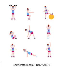 Woman doing a series of exercises. Workout, fitness, aerobics routine.