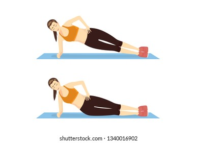 Woman doing Side Bridge Exercise in 2 step on blue mat. Illustration about introduction workout for abdominal muscle building.