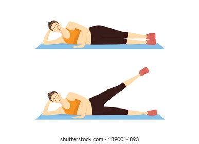 Woman doing Side Leg Raise Exercise with lying in 2 Step on blue mat. Illustration about Thighs Workout.