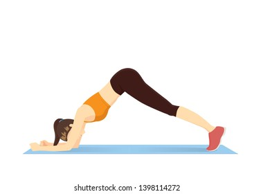 Woman doing Sliding Pike Exercise on blue mat. Illustration about side abs muscle workout.